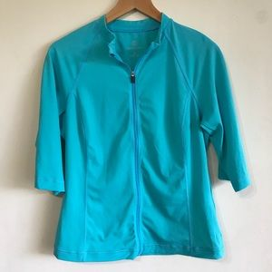 [Lands End] turquoise 3/4 sleeve rash guard size S